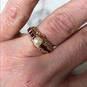 Jewelry - Faux Ruby & Gold Plated Ring
